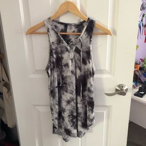 Final Touch Tops - Boutique tie dye lace up tank top